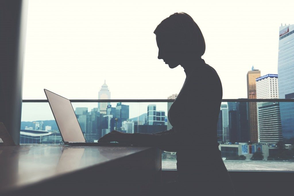 entrepreneur working in her office